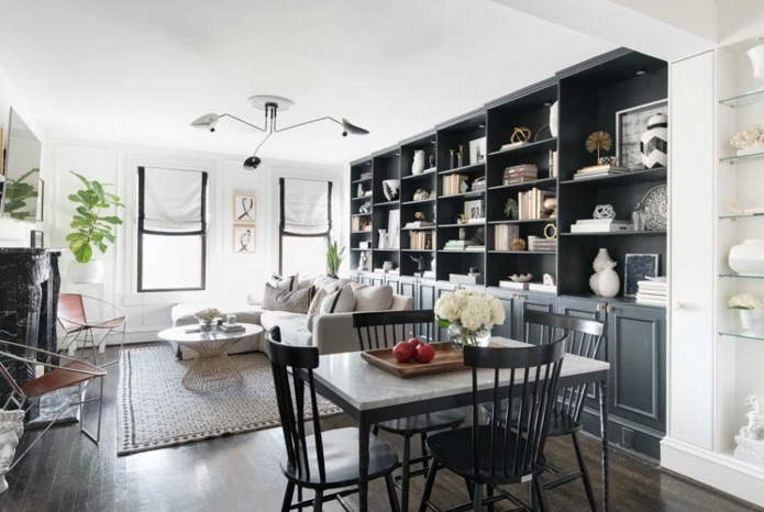 Gorgeous shared living and dining space that's glam yet cozy
