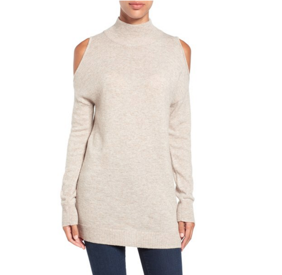 Cold shoulder Halogen tunic sweater that's perfect for Thanksgiving!