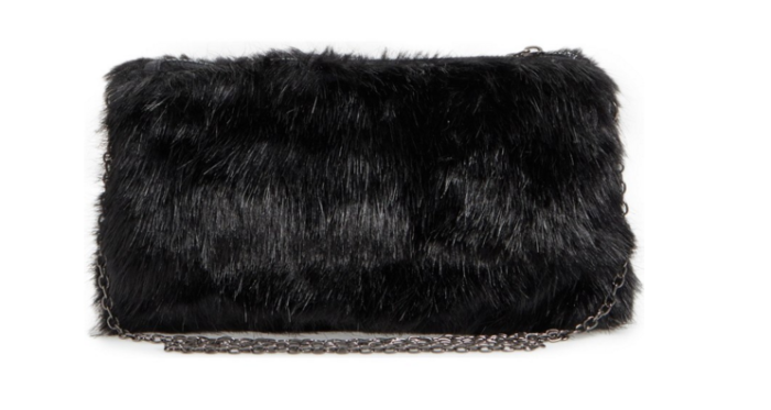 Black Faux Fur Clutch. Perfect for Holiday parties and a great price