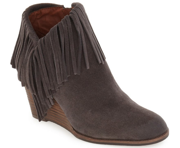 Lucky Brand wedge fringe bootie