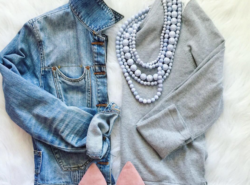 Fashion Flat lay of a cute and casual Fall outfit with a dainty grey sweater, denim jacket, and blush ballet flats