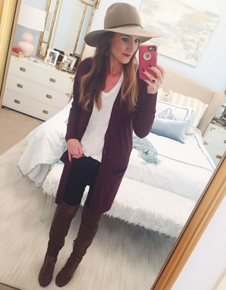 Blogger Mallory Fitzsimmons of Style Your Senses wears a plum tunic cardigan with over the knee boots and a felt hat for a casual Fall transition look