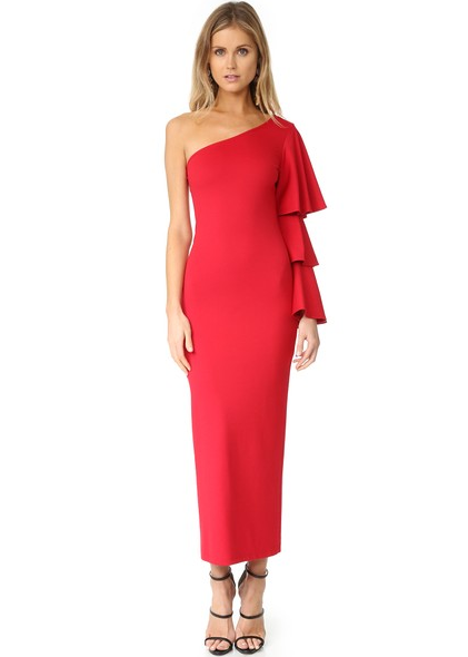 gorgeous one shoulder ruffle dress in red