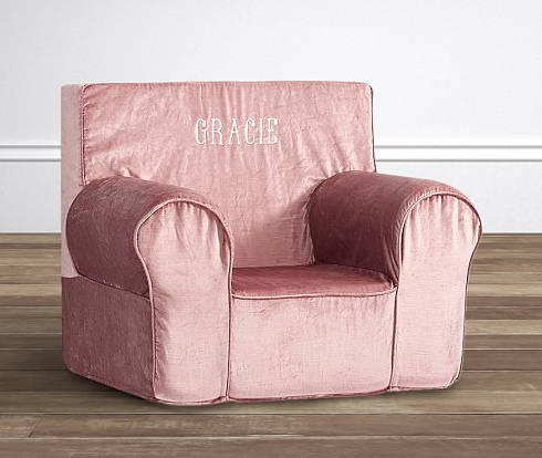 pottery barn kids velvet chair