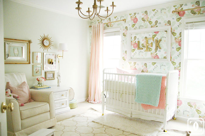 Beautiful baby girl nursery using Anthropologie's watercolor floral wallpaper, jenny lind crib and silk dupioni drapes.