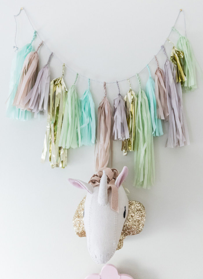 Big Girl Room Reveal with Pillowfort Uniform and tissue tassel garland