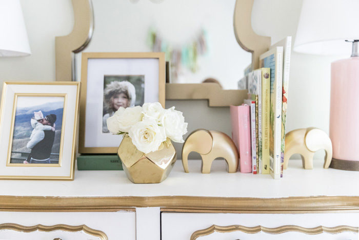 Big girl room reveal with gold, glam accessories