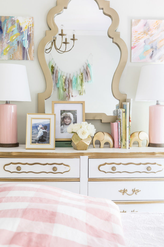 Big girl room reveal with gold, glam accessories on a vintage French Provencial dresser featured by popular Texas lifestyle blogger, Style Your Senses