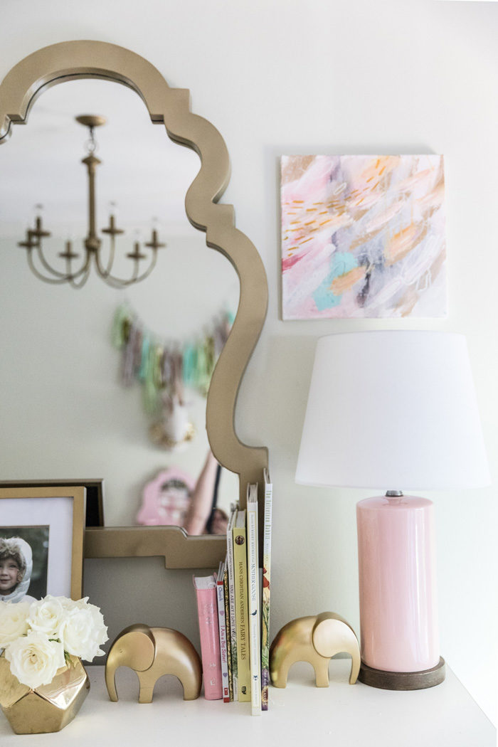 Big girl room reveal with gold, glam accessories on a vintage French Provencial dresser