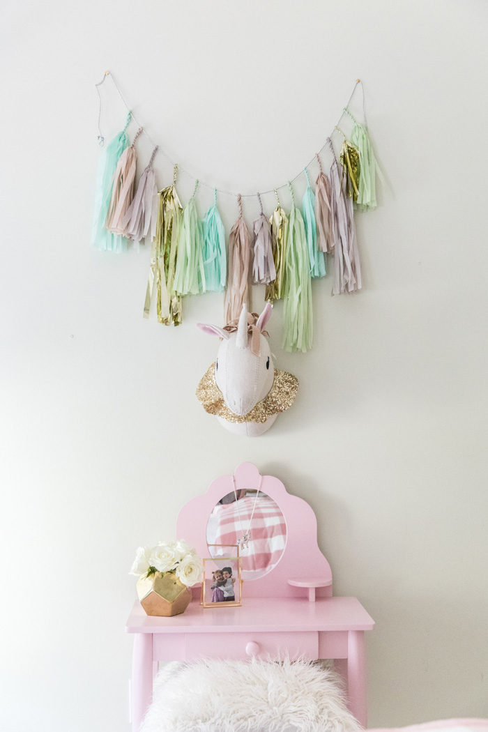 Big Girl Room Reveal with Pillowfort Uniform and tissue tassel garland featured by popular Texas lifestyle blogger, Style Your Senses