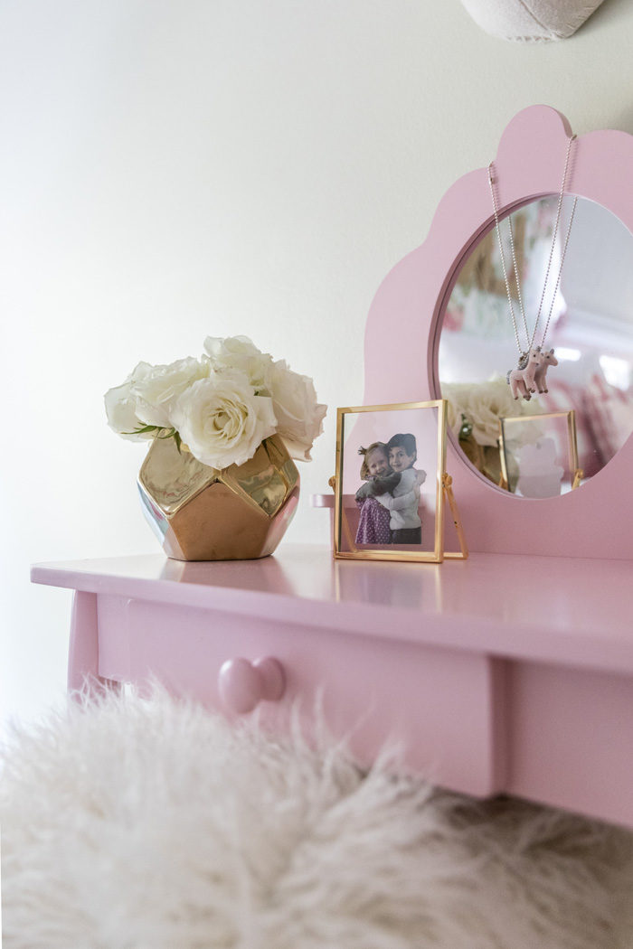 Big girl room reveal with gold, glam accessories featured by popular Texas lifestyle blogger, Style Your Senses
