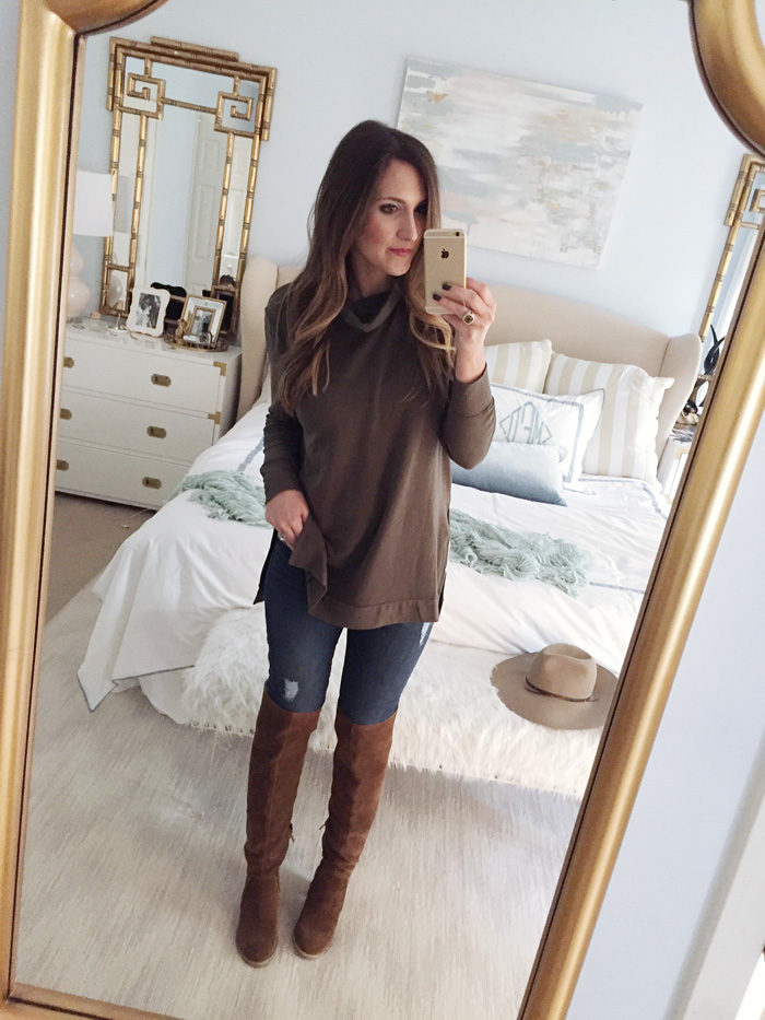 Blogger Mallory Fitzsimmons of Style Your Senses wears a simple hunter green sweater tunic, skinny jeans and over the knee boots for a casual Fall outfit