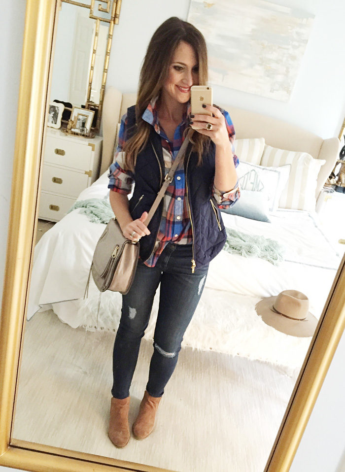 Blogger Mallory Fitzsimmons of Style Your Senses wears a plaid button up shirt, navy blue puffer vest and ankle booties for a casual Fall look