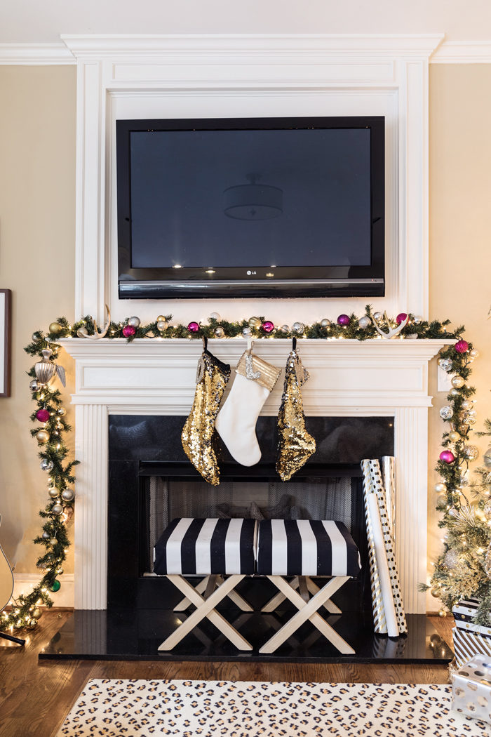 Holiday Home Tour 2016, gorgeous mantle, garland, black and white stripes, pink decor, gold Christmas decor