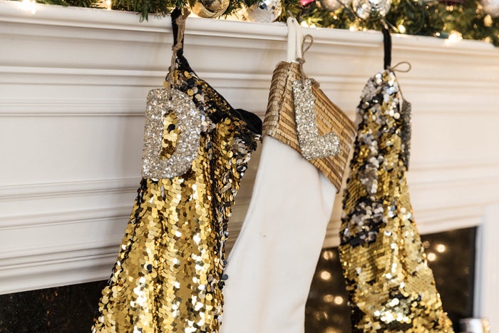 Blogger Mallory Fitzsimmons of Style Your Senses shares her Holiday Home Tour which includes these darling monogrammed sequin stockings - Our Holiday Home Tour featured by popular Texas lifestyle blogger, Style Your Senses