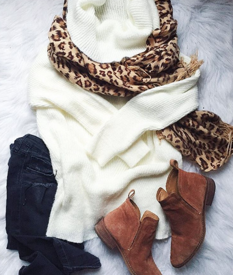 Tunic sweater with leopard scarf and booties for a casual and cute outfit