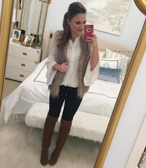Casual outfit inspiration with over the knee boots and fur vest