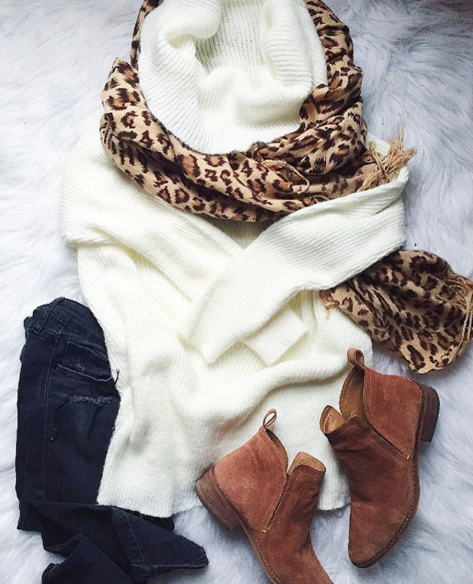 Casual outfit inspiration with leopard scarf and Dolce Vita booties