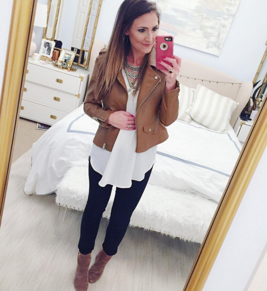Casual outfit inspiration with leather bomber jacket and tunic top