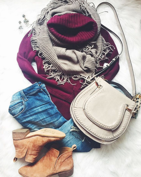 Casual outfit inspiration with plum sweater and fringe scarf