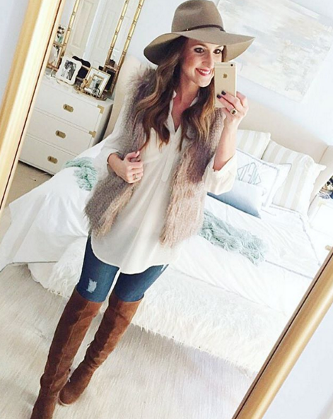 Casual outfit inspiration with faux fur vest and over the knee boots