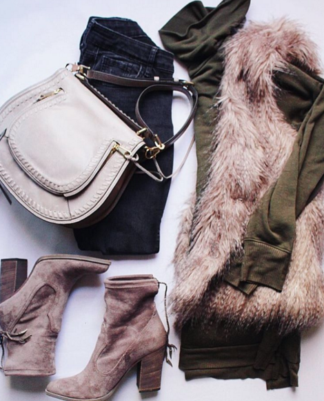 Casual outfit inspiration with faux fur vest and Dolce Vita booties