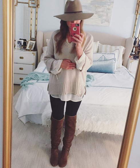 Casual outfit inspiration with Loft sweater and over the knee booties
