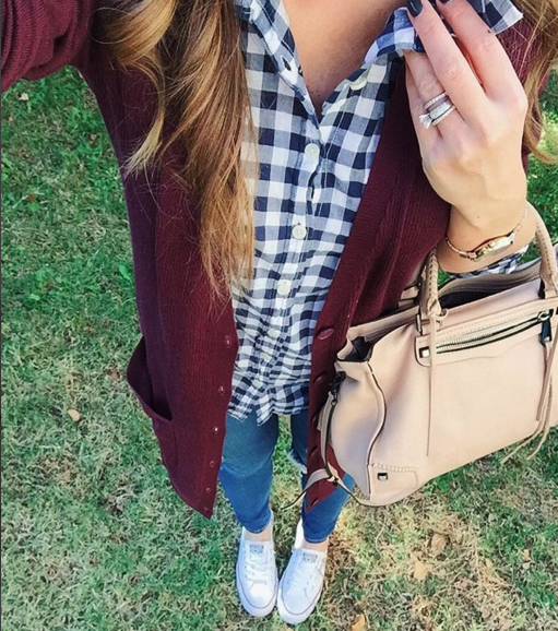 Casual outfit inspiration with plum cardigan over gingham button up