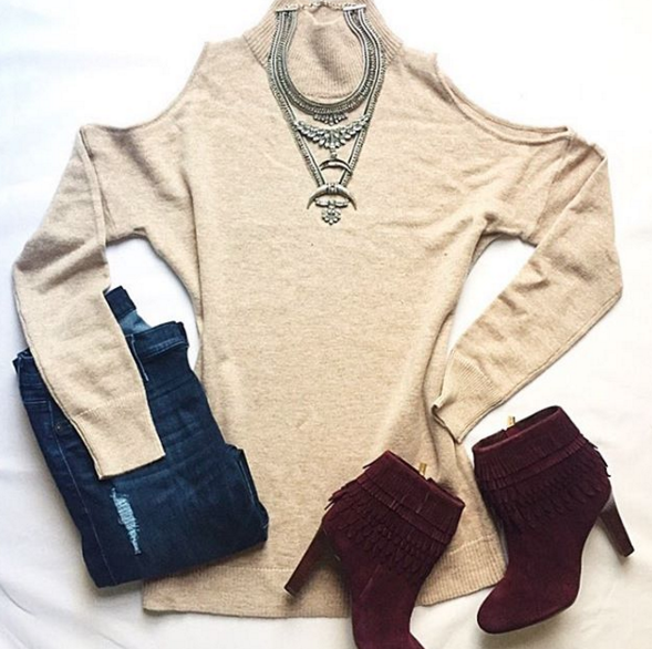 Casual outfit inspiration with cold shoulder sweater