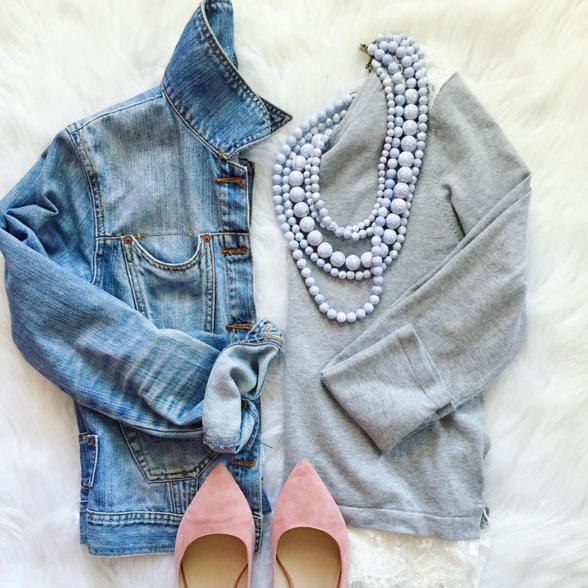 Casual outfit inspiration with lace trimmed sweater