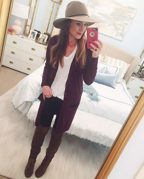 Casual outfit inspiration with plum cardigan and over the knee booties