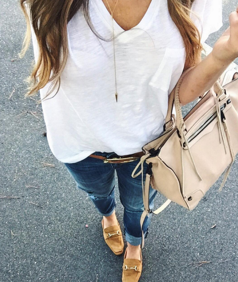 madewell t-shirt distressed denim and flat mules