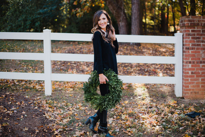 what to wear to a casual holiday party beaded tunic top with moto leggings and