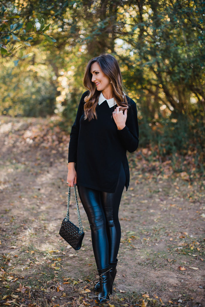 What to wear to a casual Holiday party. Beaded tunic top with moto leggings and booties
