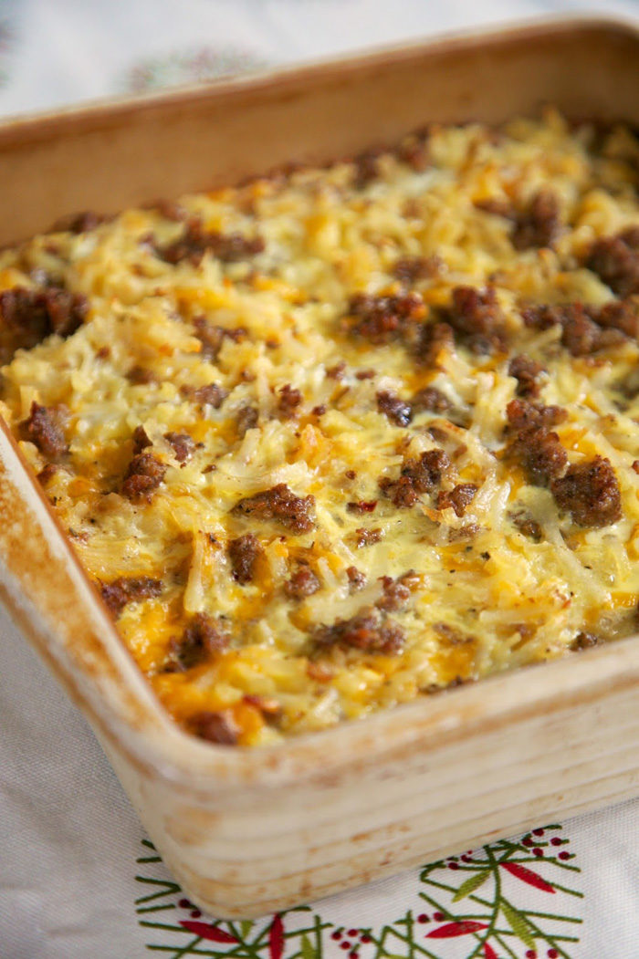 sausage-hash-brown-breakfast-casserole - Christmas Morning Brunch Ideas for Christmas Morning featured by popular Texas lifestyle blogger, Style Your Senses