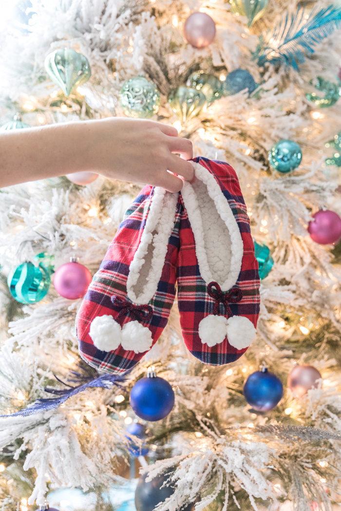 Stocking stuffer ideas under $30. Love these festive plaid slippers