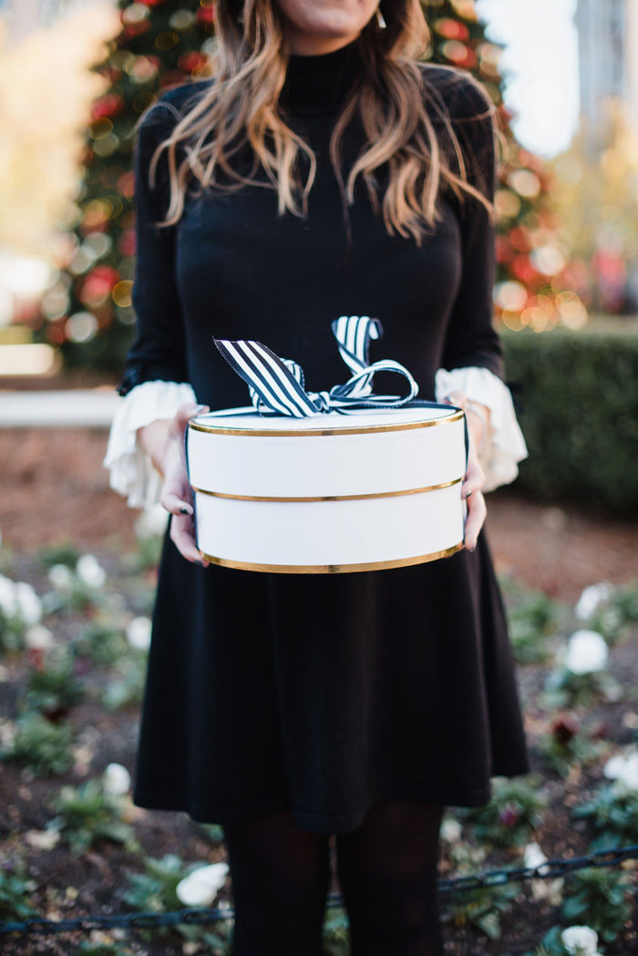 What to wear to Christmas or Christmas Eve services. This cute and conservative bell sleeve dress is perfect for nearly any Holiday occassion