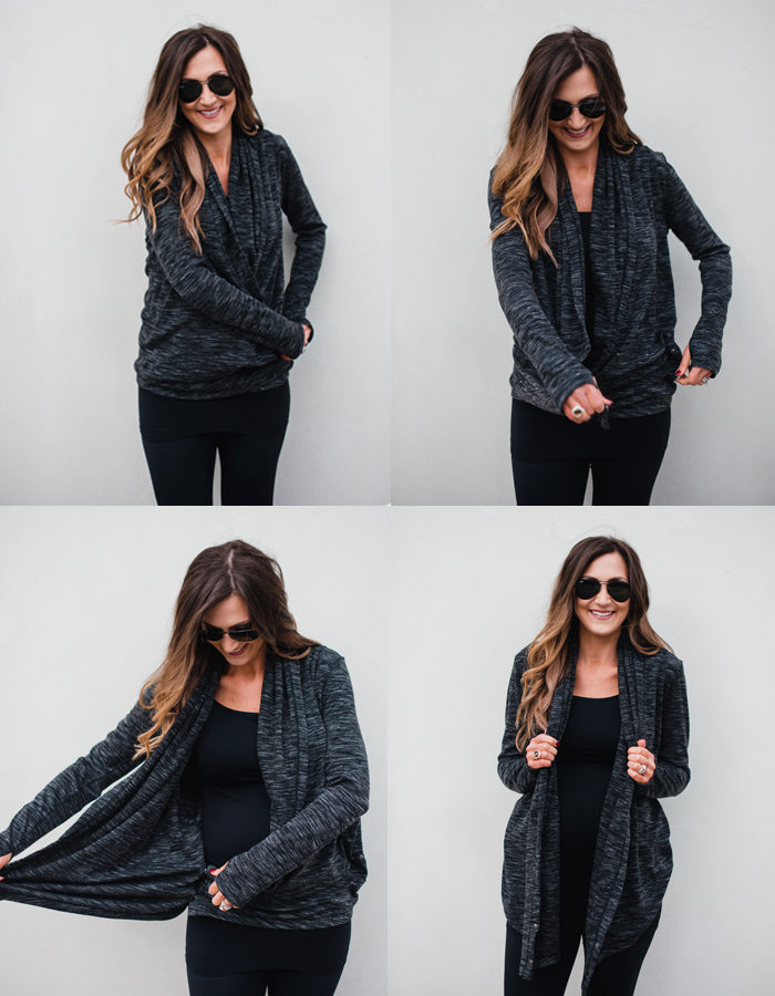 Cute Athleisure outfit for busy moms with this versatile cardigan that can be worn two ways! | Athleisure capsule wardrobe for Fall featured by popular Dallas fashion blogger, Style Your Senses