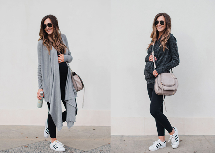 Cute Athleisure outfit for busy moms with these versatile cardigans that can be worn two ways!