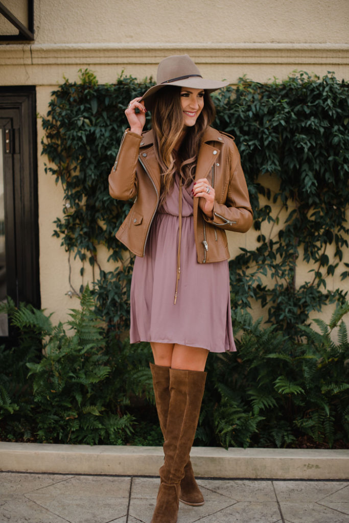 Affordable skater dress and moto jacket combo that can be easily dressed up or down.