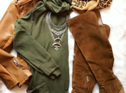 Casual, chic outfit with tunic sweater and over the knee boots