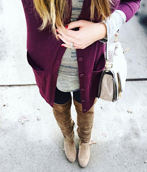 Camo tee paired with a tunic cardigan and over the knee boots