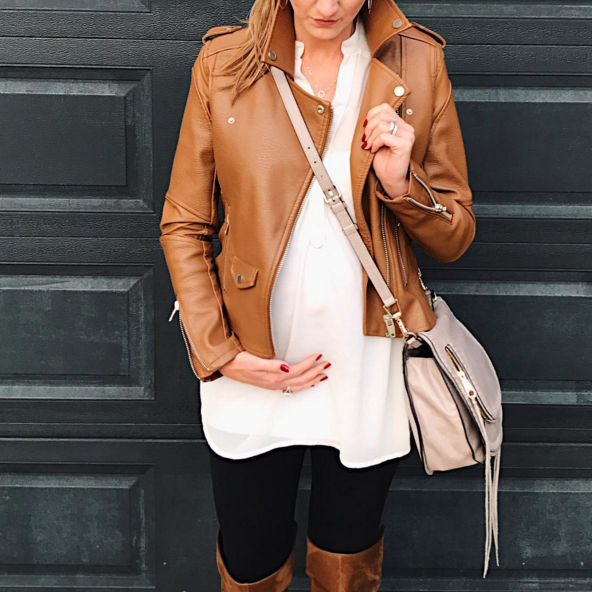 casual winter outfit with a cognac moto jacket, tunic and over the knee boots