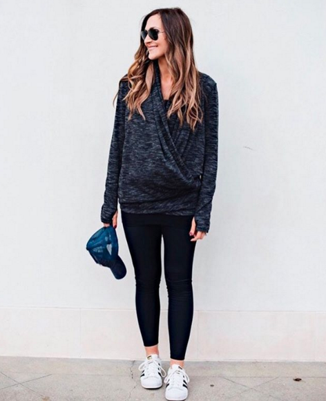 This versatile wrap sweater is perfect for busy moms on the go!