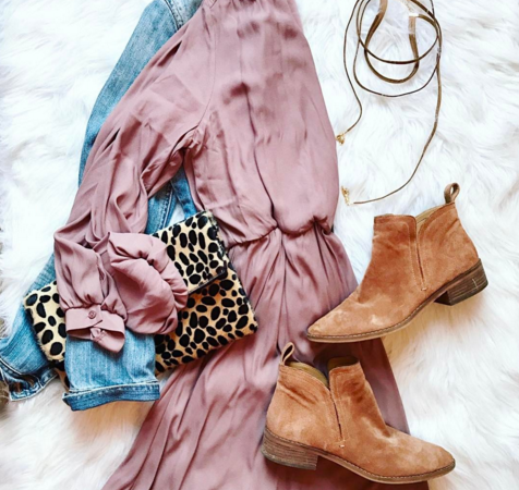 Style this cute and inexpensive dress up for a date night or down for a casual brunch. A great piece to transition to Spring as well