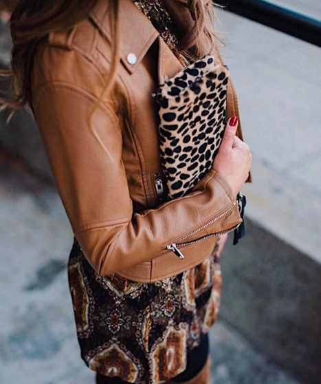 Moto jacket with printed dress