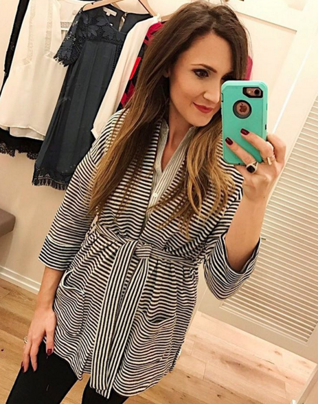 Striped wrap cardigan from LOFT