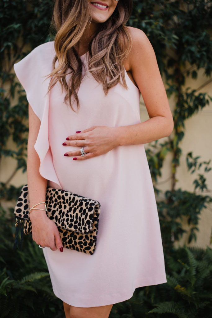 Blush pink ruffle dress is perfect for a Valentine's Day Date Night!
