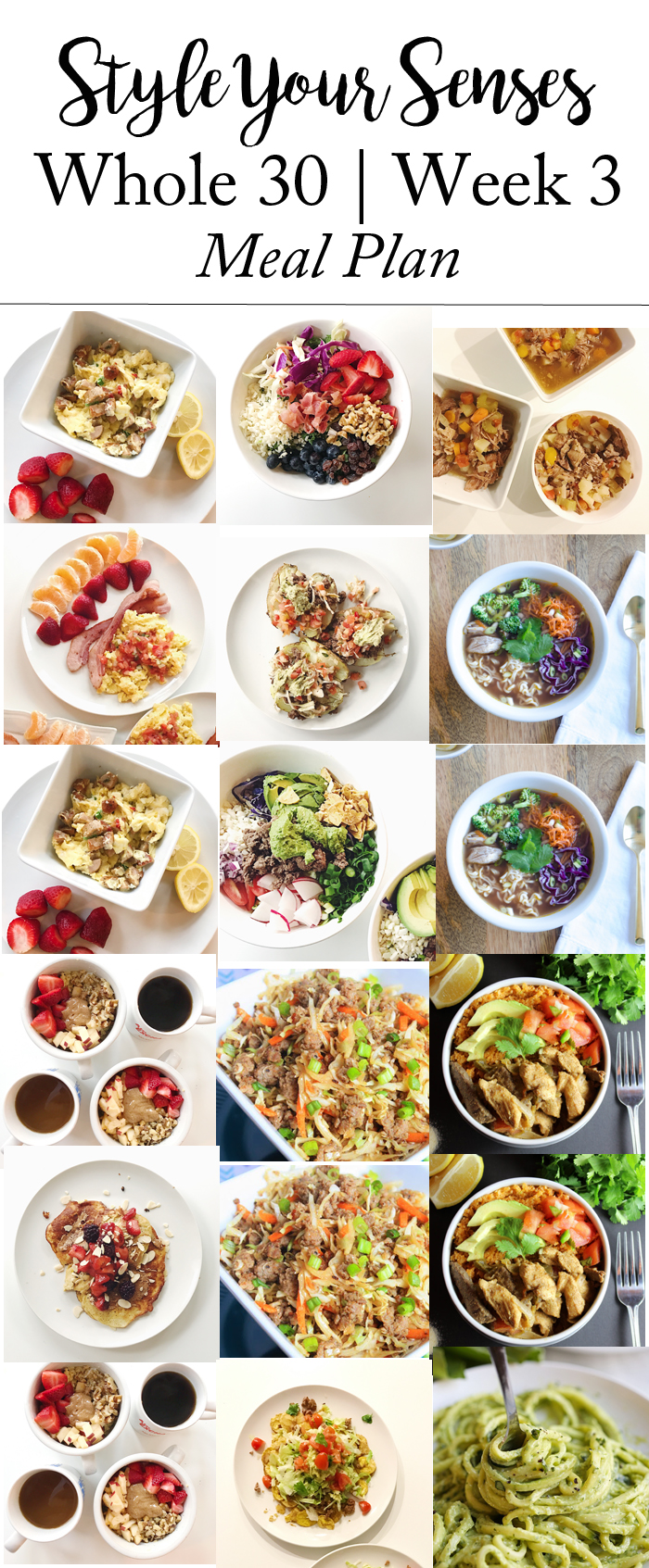 Whole 30 Week 3 meal plan