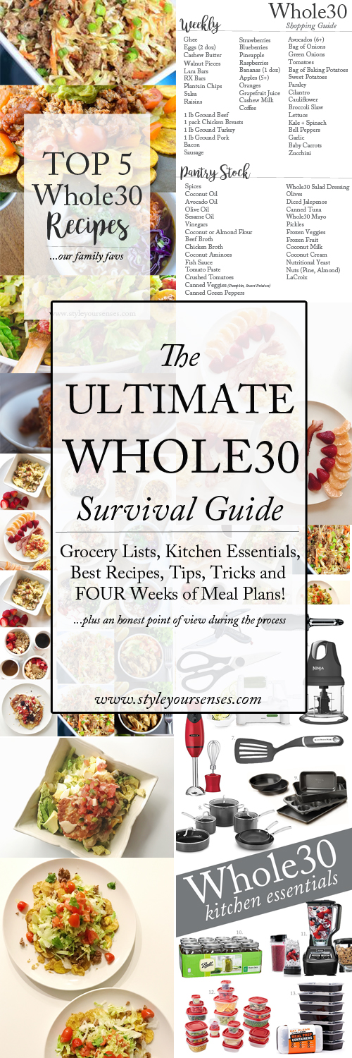 The Ultimate Whole30 survival guide! Recipes, grocery lists, meal plans, tips, tricks and a personal journey.